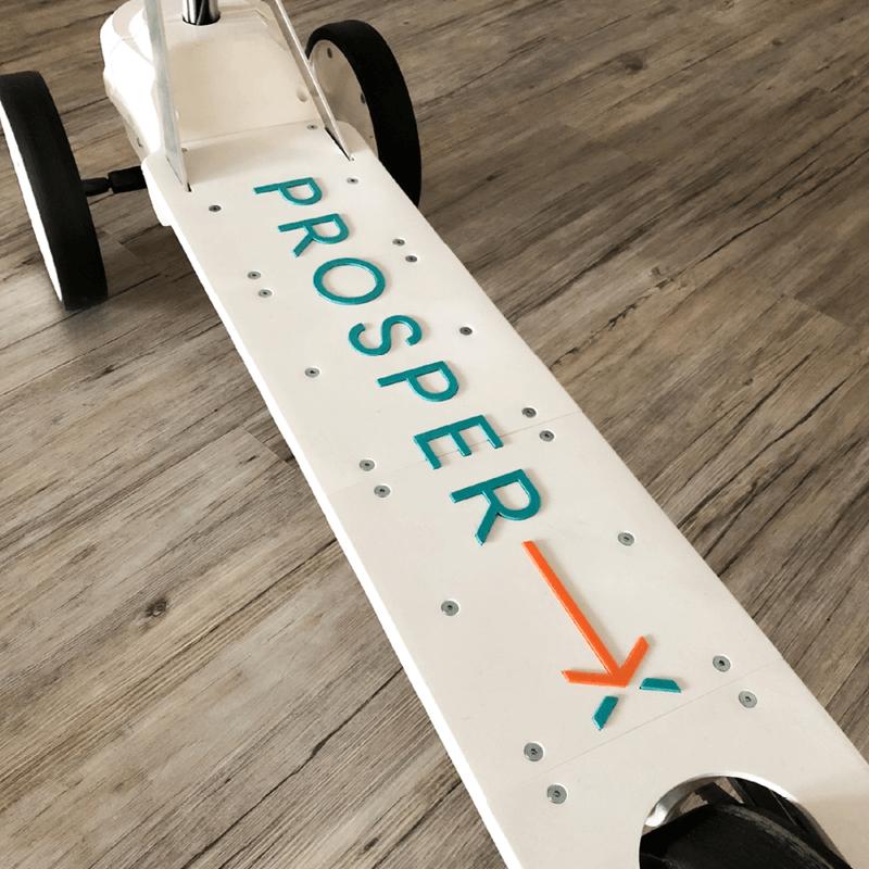 Foto des selbst konstruierten E-Rollers der PROSPER X GmbH aus dem 3D-Drucker