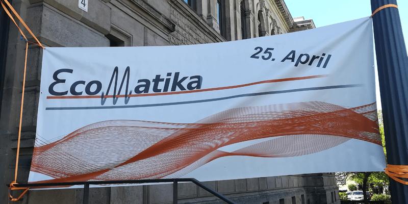 Banner der Firmenkontaktmesse EcoMatika im Jahr 2019 an der Technischen Universität Braunschweig