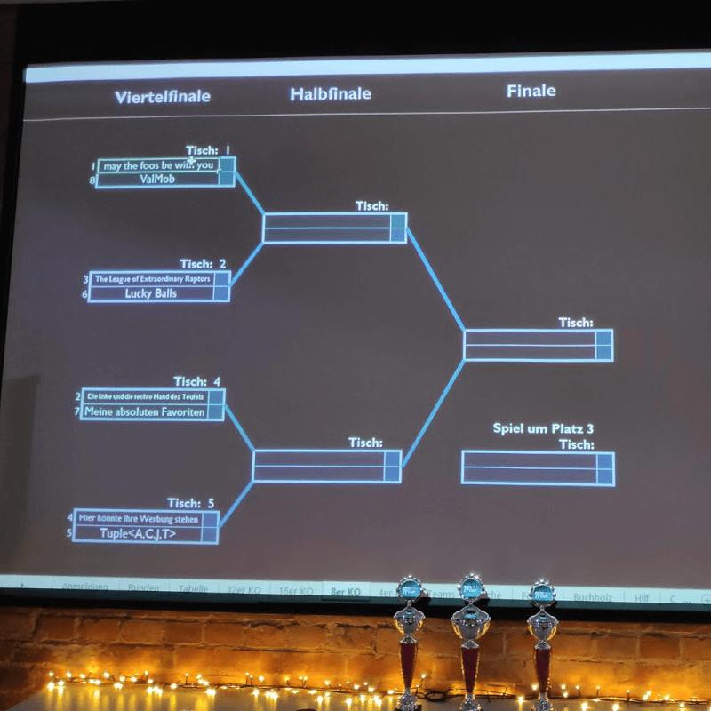 Projektion der Matches im Rahmen des Kick IT Cup bei der msg DAVID