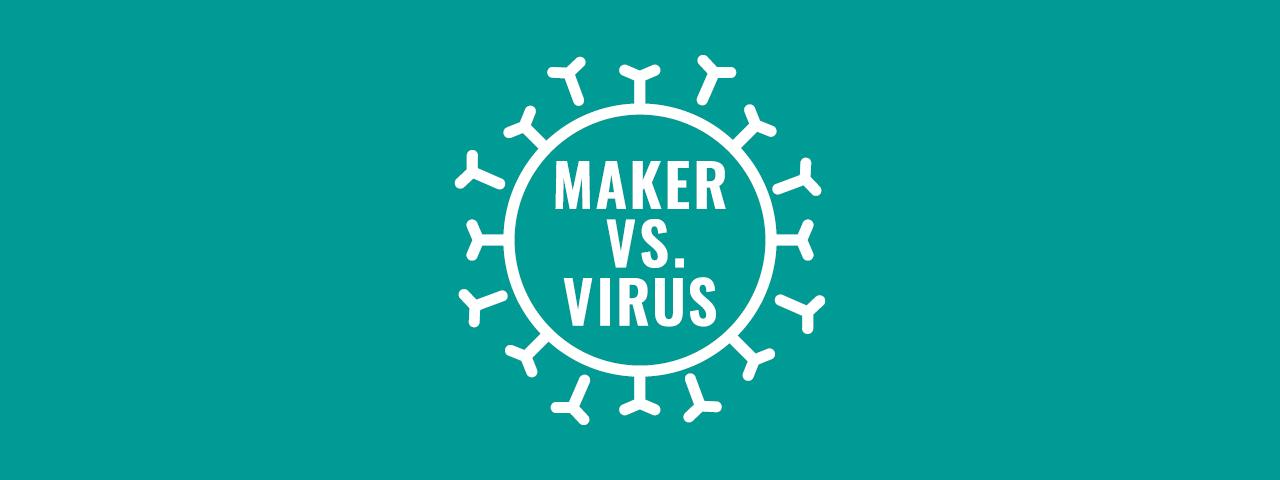 Grafik der Initiative Maker vs. Virus mit petrolfarbigen Hintergrund
