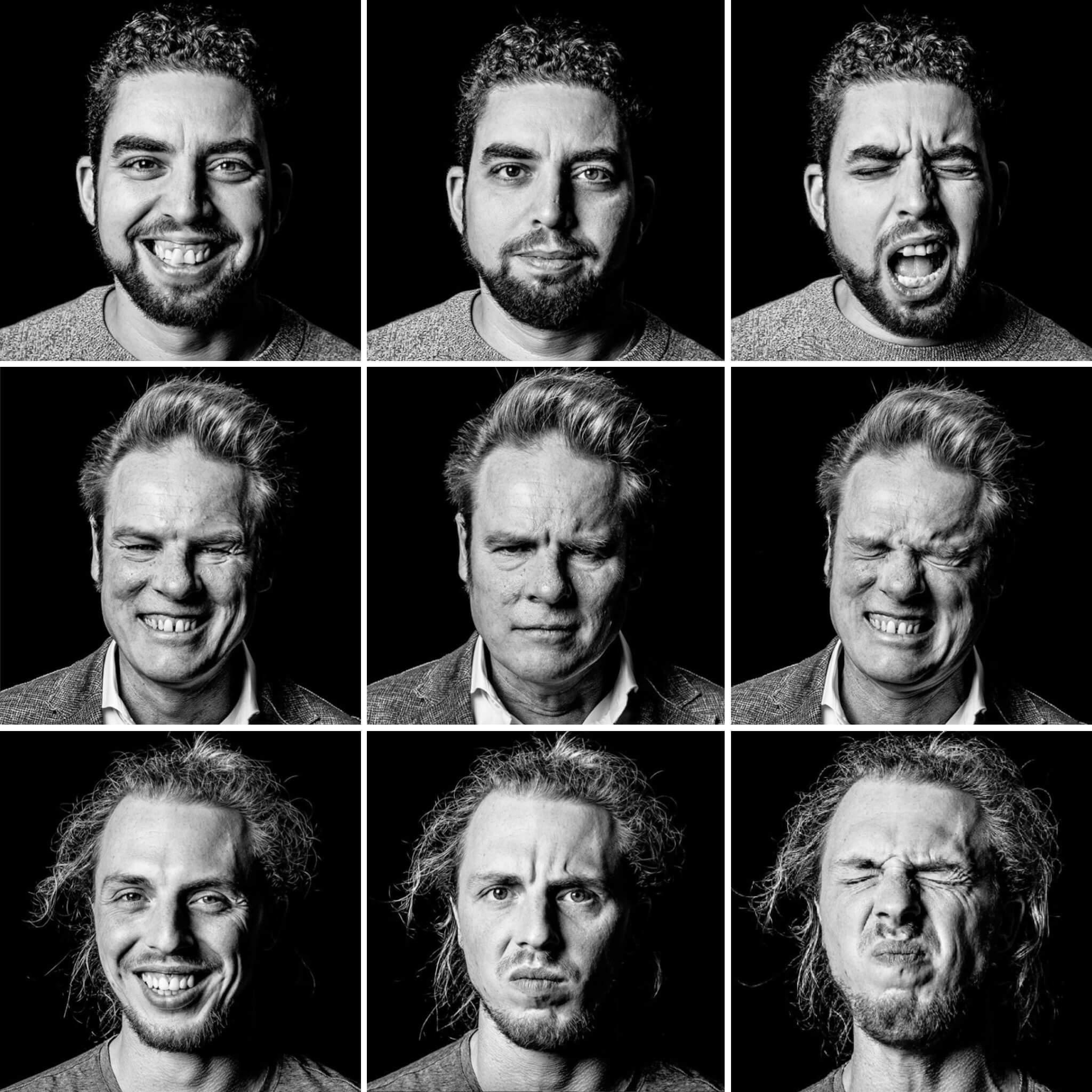 Fotocollage der Emotionen Freude, Wut und Schmerz als Teil des Kunstprojekts manyFACES von Christoph Borek.